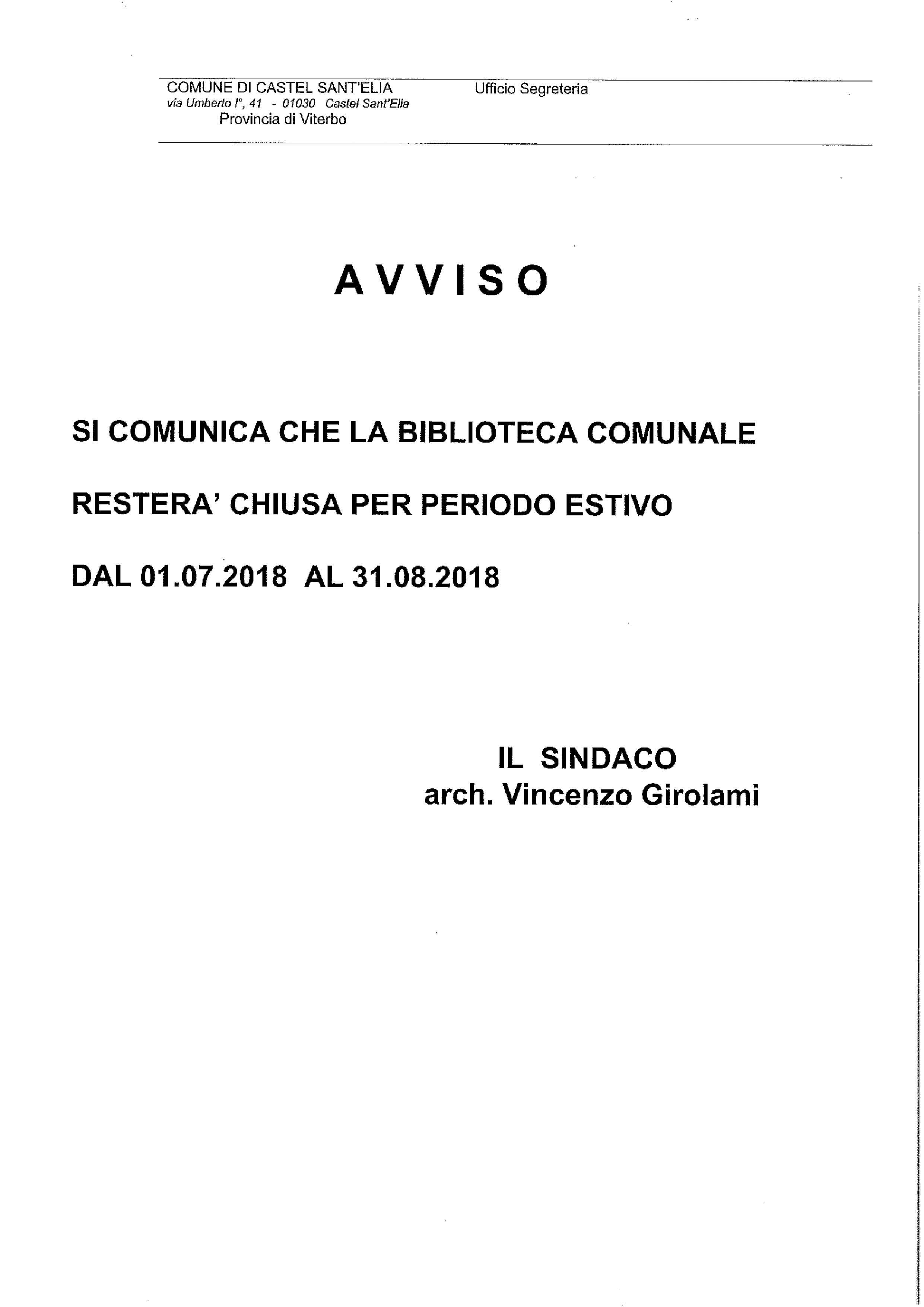 AVVISO CHIUSURA BIBLIOTECA PERIODO ESTIVO