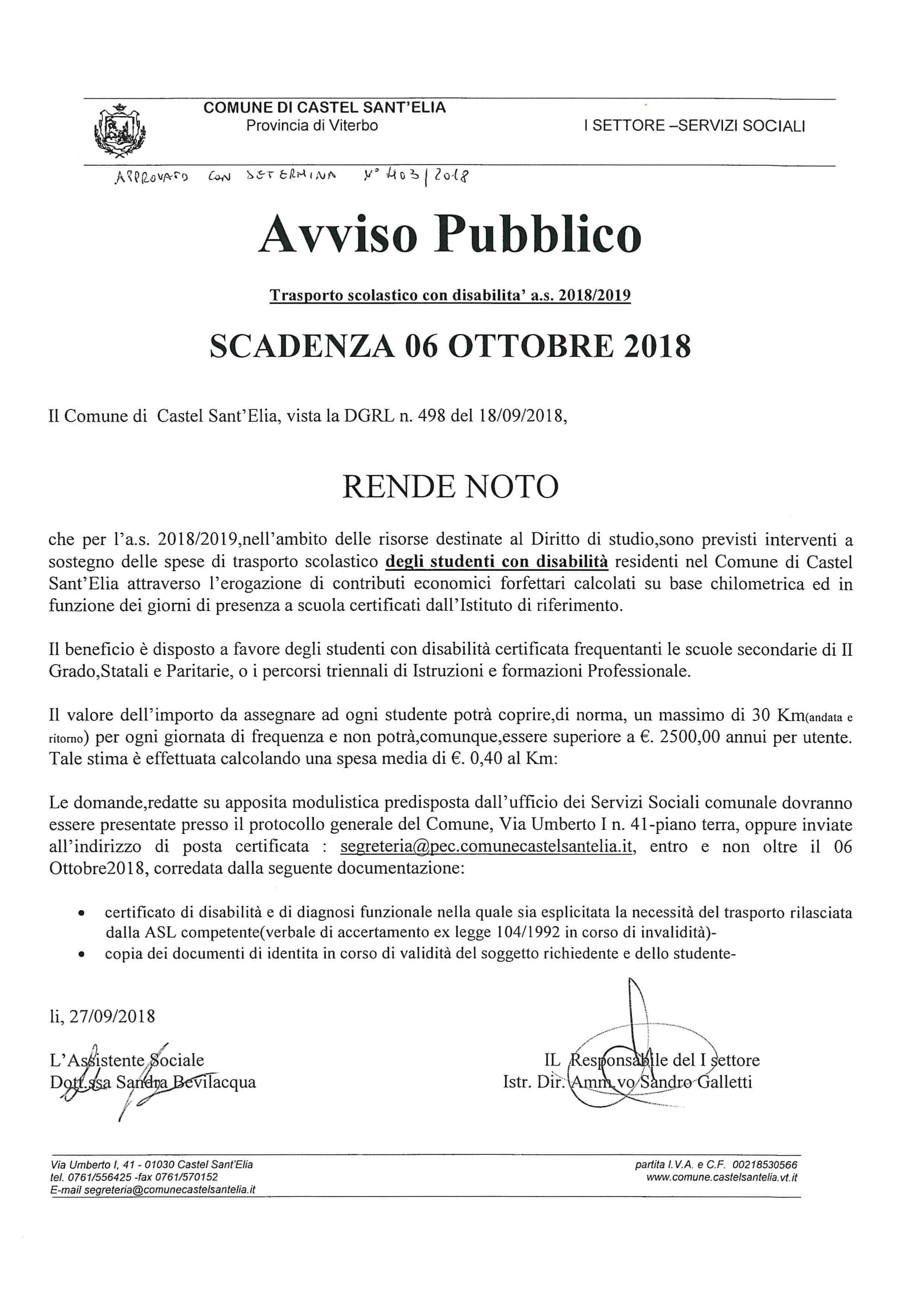 AVVISO TRASPORTO SCOLASTICO DISABILI