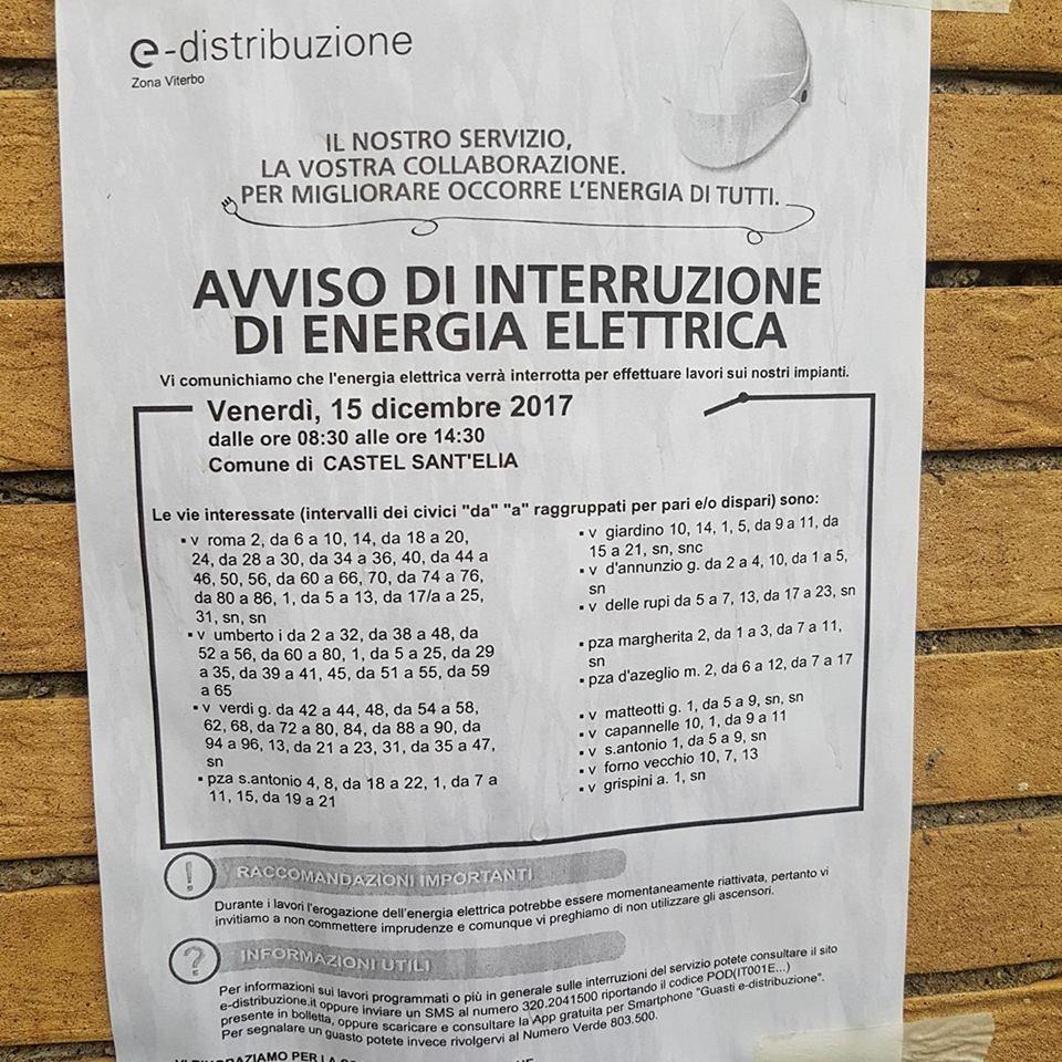 INTERRUZIONE ENERGIA ELLTRICA