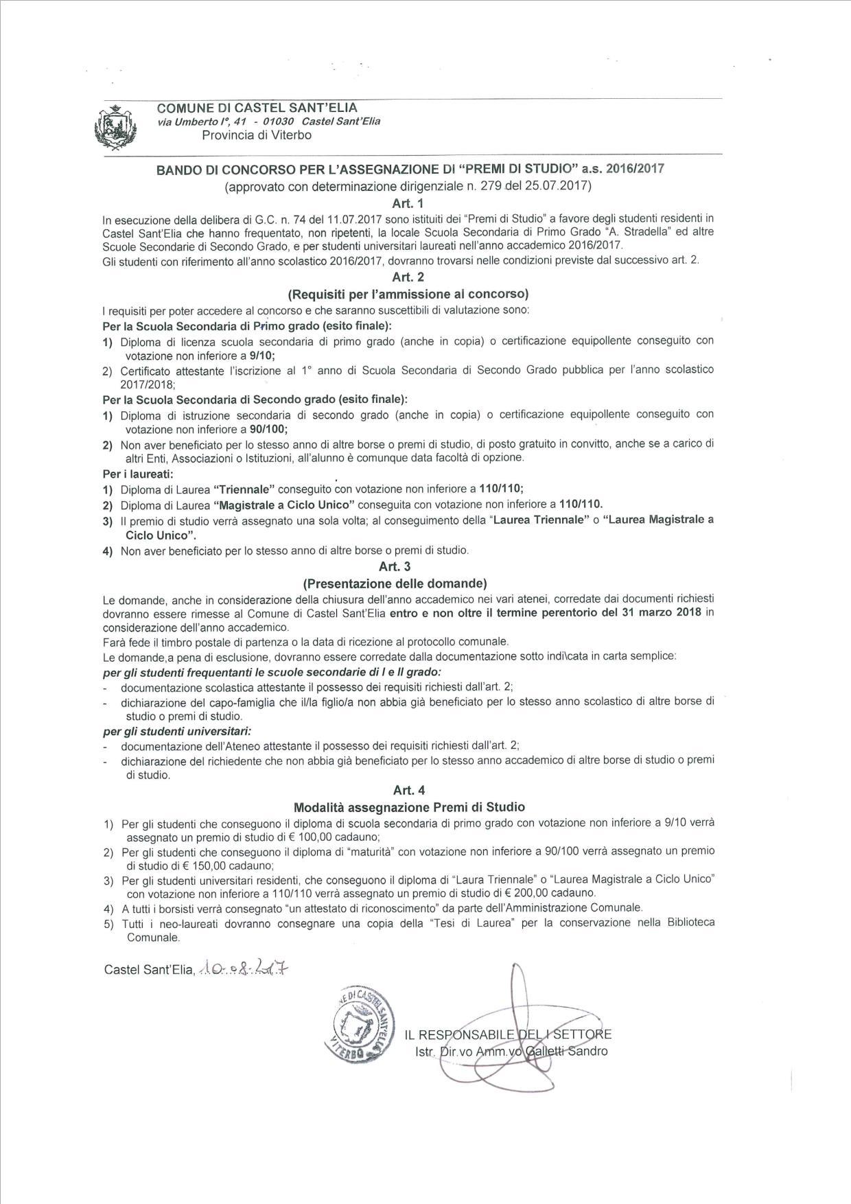 BANDO PREMI DI STUDIO