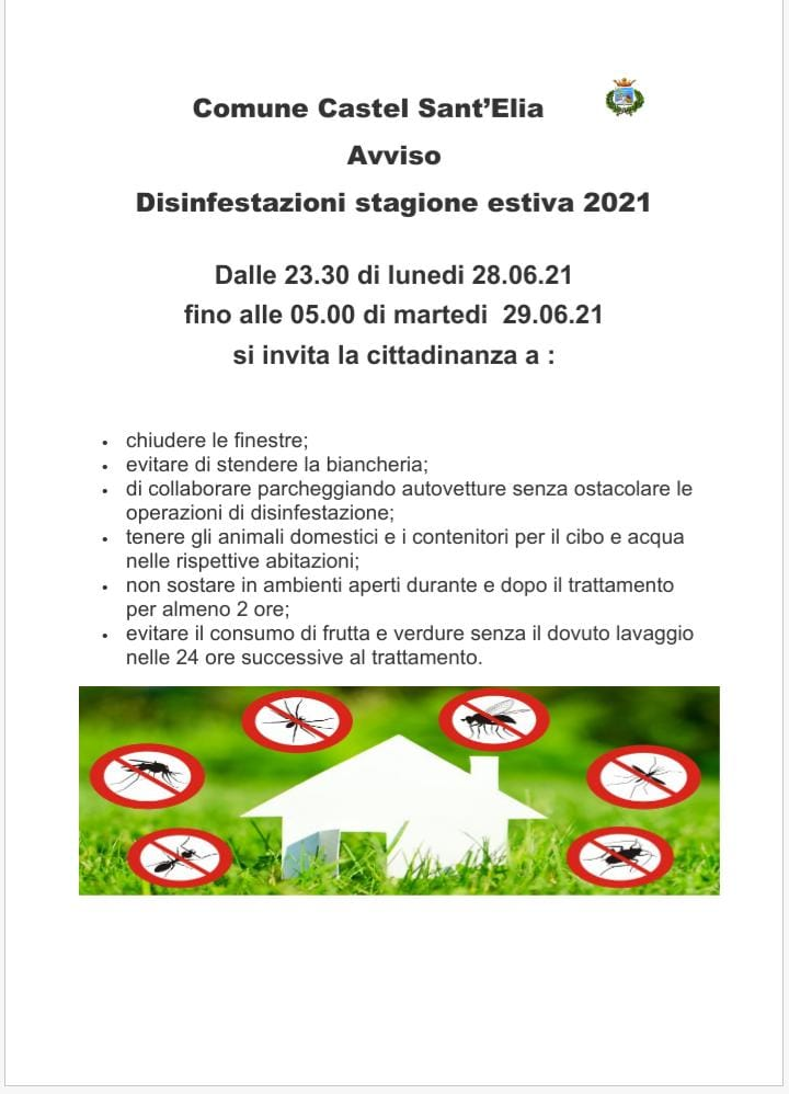 Avviso disinfestazione stagione estiva 2021