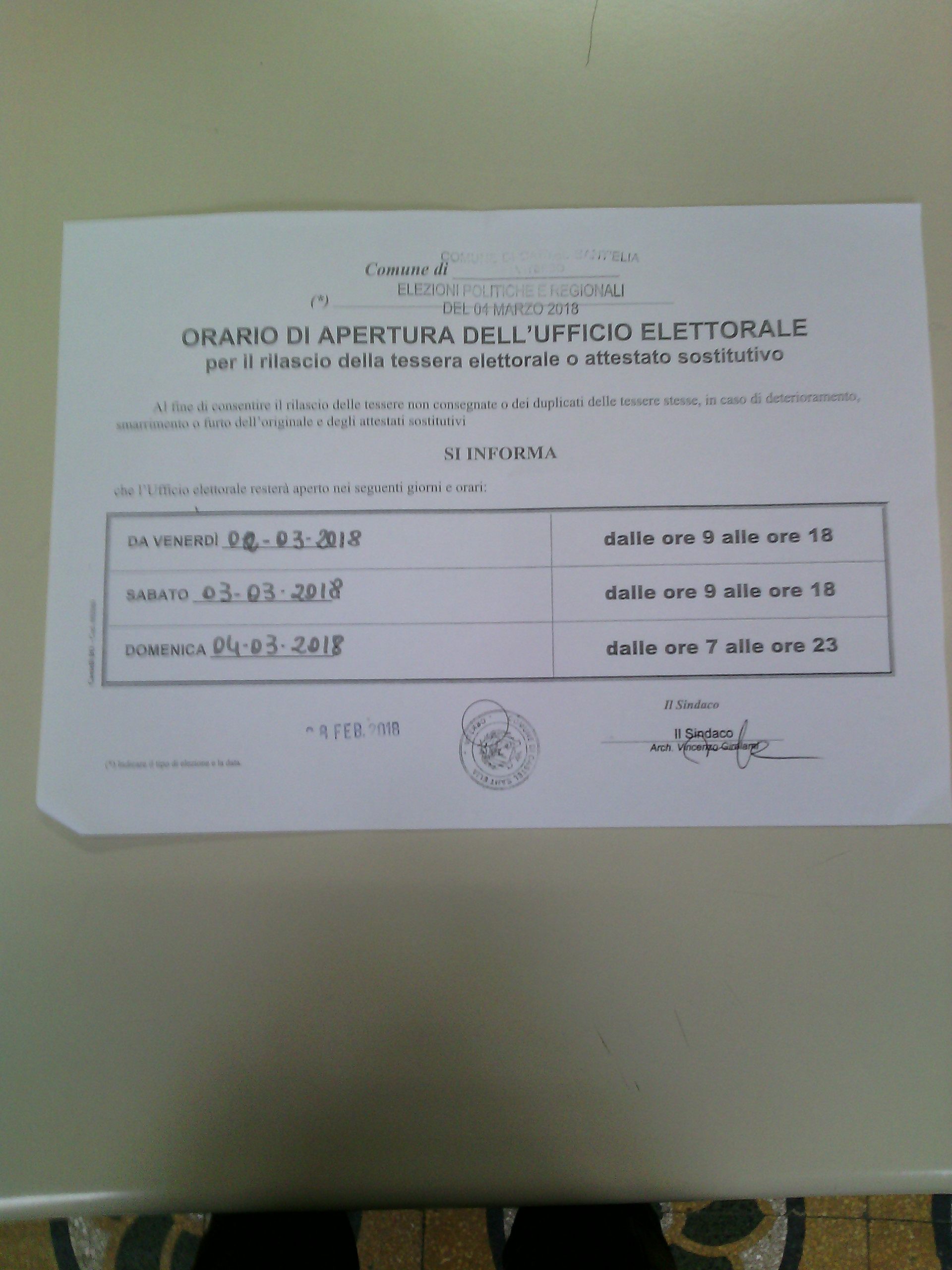 UFFICI ELETTORALI ORARI APERTURA STRAORDINARIAA