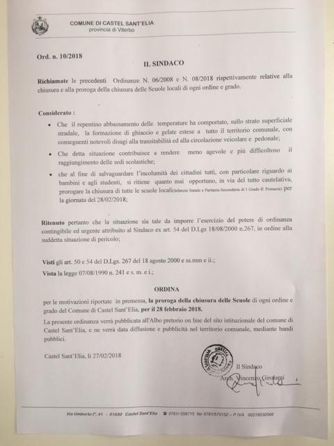 PROROGA ORDINANZA CHIUSURA SCUOLA PER IL 28 FEBBRAIO
