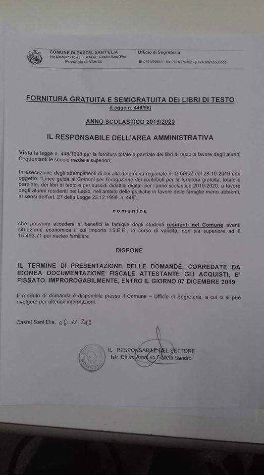 APERTURA TERMINI PER RIMBORSO LIBRI DI TESTO