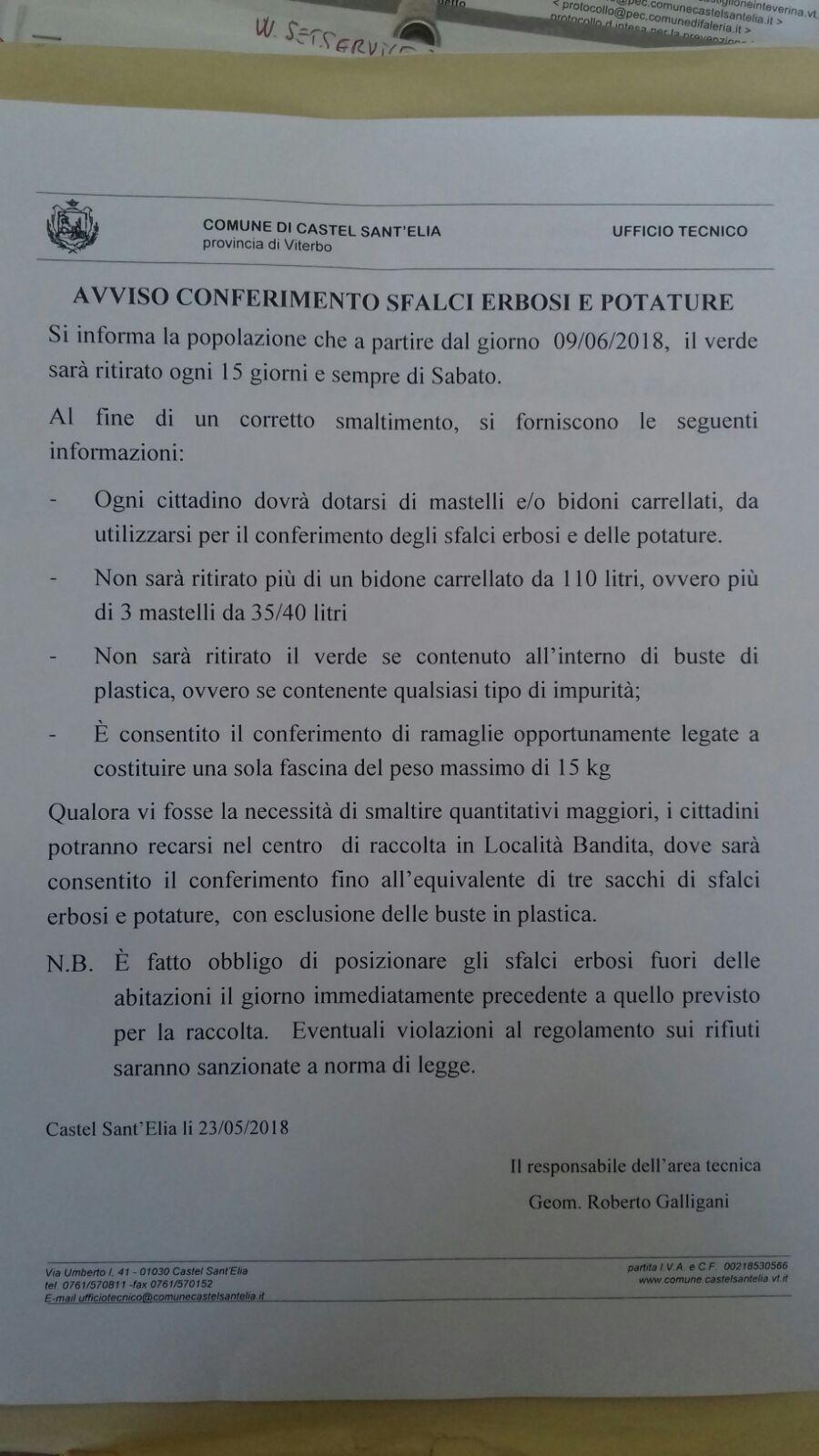 AVVISO RACCOLTA VERDE