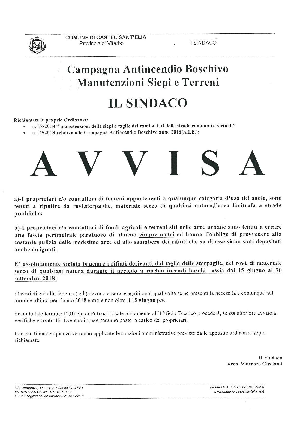 AVVISO CAMPAGNA ANTINCENDIO