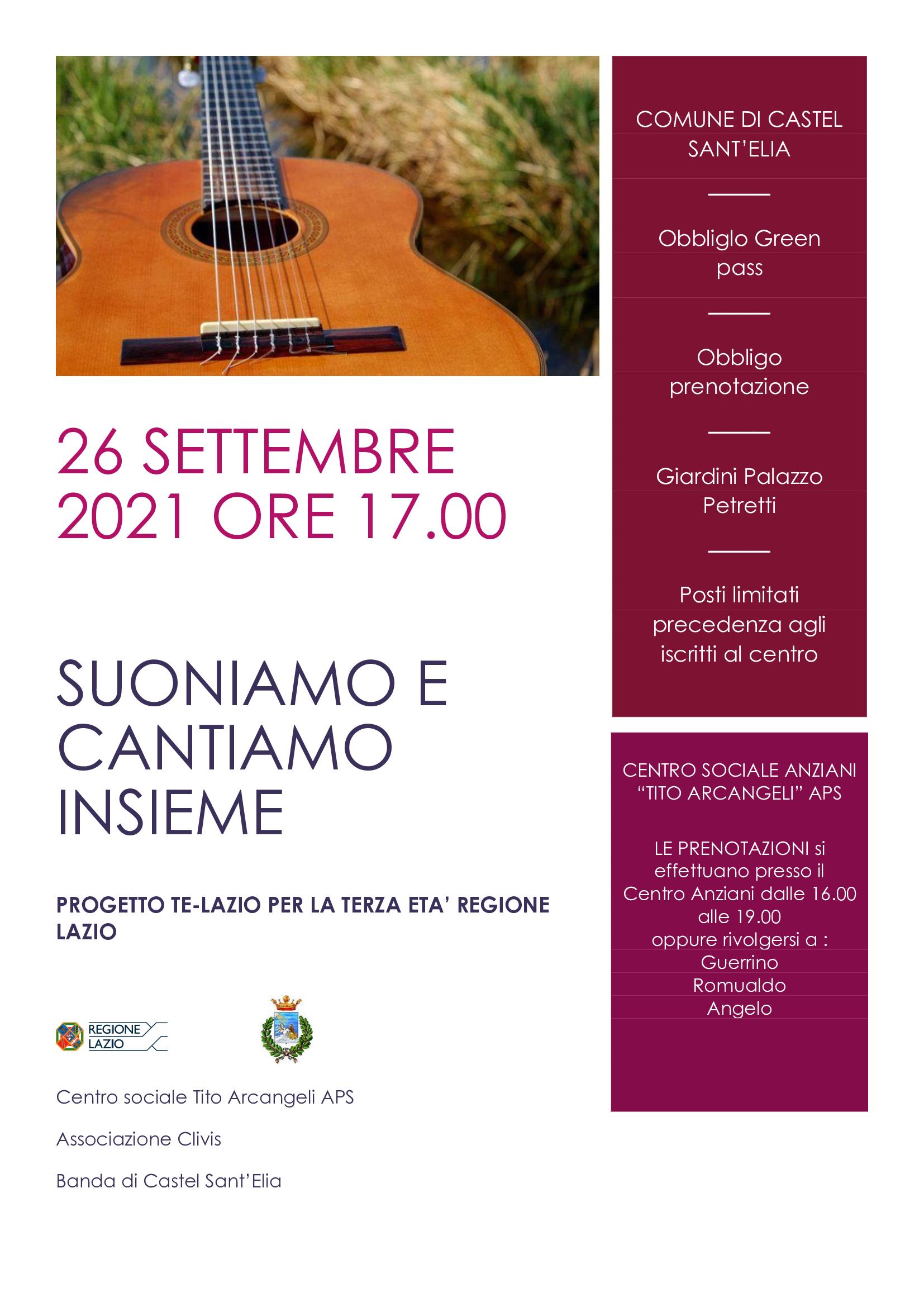 SUONIAMO E CANTIAMO INSIEME 26 SETTEMBRE 17.00